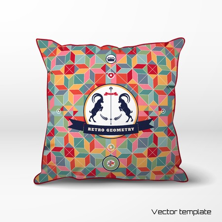 Pillow with abstract geometric background in retro style. Multicolored figures and grid. Beautiful round label with two goats and ribbon. Realistic shadows. Illustration