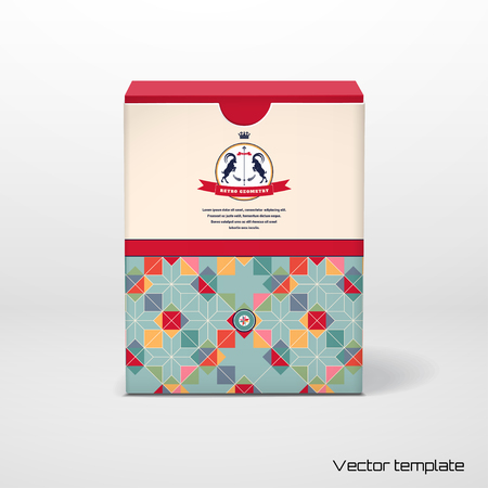 Vector cubic box template with a geometric pattern. Multicolored figures and grid. Beautiful round label with two goats and ribbon.