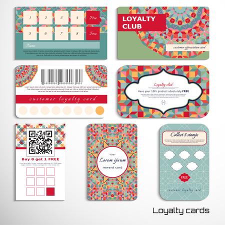 Zestaw kart lojalnościowych z geometrycznym wzorem. Wielobarwne figury i siatka. Miejsce na Twój tekst. Ilustracje wektorowe