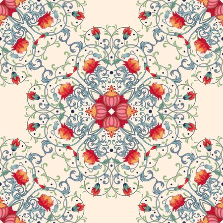 Beautiful floral seamless pattern with fantasy flowers.