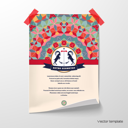 Vector poster. Sheet of paper glued with adhesive tape to the wall. Abstract vector background. Multicolored figures and grid. Beautiful round emblem with two goats and ribbon. Place for your text.