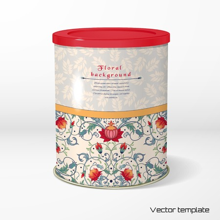 Vector object. Round tin packaging. Tea, coffee, dry products. Pattern with fantasy flowers. Seamless delicate ornament with leaves. Place for your text. Illustration
