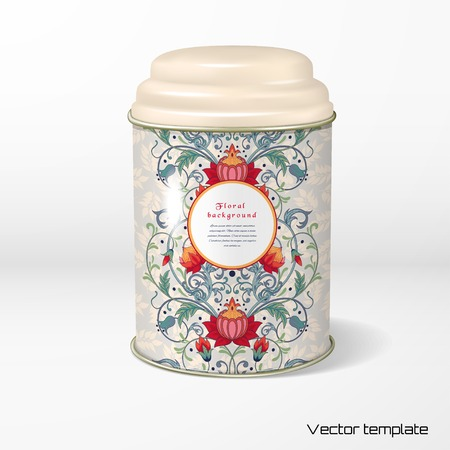 Vector object. Round tin packaging with a figured cover. Tea, coffee, dry products. Pattern with fantasy flowers. Seamless delicate ornament with leaves. Place for your text.