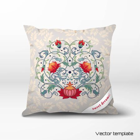 Vector pillow with fantasy flowers and delicate ornament with leaves. Illustration
