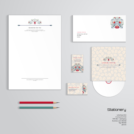 Vector identity templates letterhead envelope business card vector vector identity templates letterhead envelope business card tag disc with packaging pencils fantasy flowers and delicate ornament with friedricerecipe Image collections
