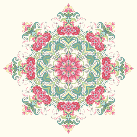 A Vector background with a round ornament. Beautiful floral oriental pattern. Delicate green and pink.