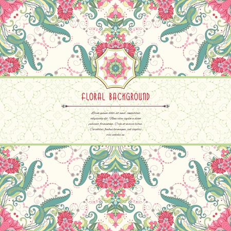 Vector greeting card. Oriental floral pattern. Insertion for your text with simple delicate ornament.