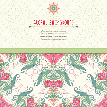 Vector card.  Pattern with flowers in vintage oriental style. Insertion for your text with simple delicate ornament. Illustration