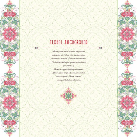 Vector card with borders. Oriental floral pattern. Insertion for your text. Delicate green and pink.