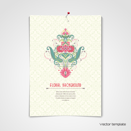 Vector poster. Sheet of paper hanged on a pin to the wall. Beautiful oriental floral pattern. Delicate green and pink. Place for your text.