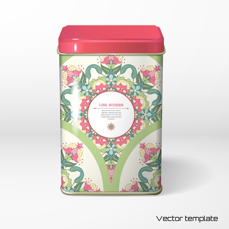 Vector object. Square tin packaging. Tea, coffee, dry products. Floral round pattern. Place for your text. Delicate green and pink. Illustration