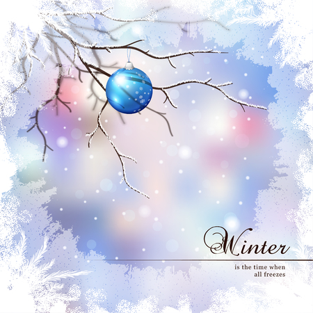 Vector illustration.Winter composition with glass New Years ball behind the frozen window.