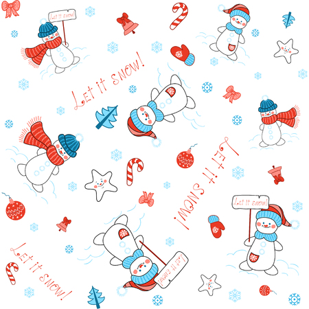 Vector seamless background with Cartoon snowmen, stars and Christmas decorations. Winter collection. The inscription in by hand - Let it snow!