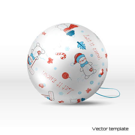 Vector Christmas ball. Pattern with snowmen, stars and Christmas decorations. Winter collection. Realistic shadows. Illustration