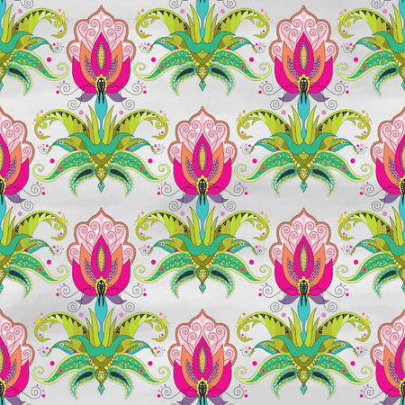 Seamless vector background. Beautiful oriental fantastic floral pattern. Watercolor hand drawing.
