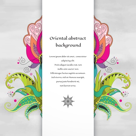 Vector card with floral oriental fantastic pattern and white insertion for your text. Illustration