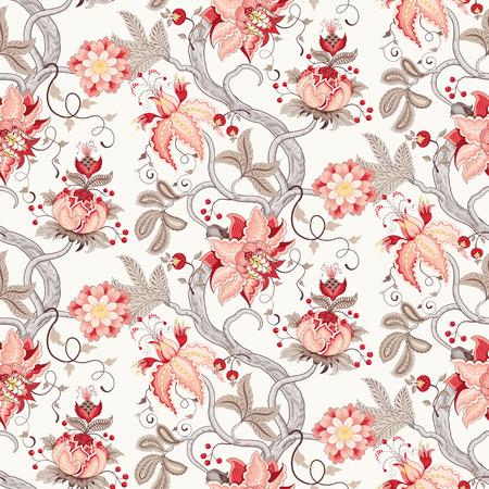 Fondo vintage floral de vector transparente. Rama de árbol curvada con fantásticas flores, hojas, zarcillos y bayas. Los motivos de las pinturas de telas indias antiguas. Colección Tree of Life