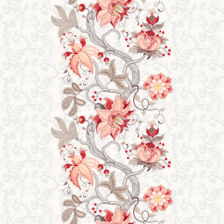 Seamless vector floral background. Beautiful border with tree branches and fantastic flowers. The motives of the paintings of ancient Indian fabrics. Tree of Life collection.