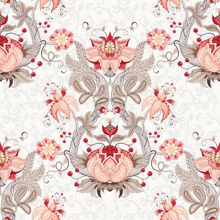 Fond vintage floral vectorielle continue. Ornement de Damas avec branche d'arbre incurvée, fleurs et feuilles fantastiques. Les motifs des peintures de tissus indiens antiques. Collection Arbre de vie Vecteurs