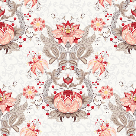Seamless vector floral vintage background. Damascus ornament with curved tree branch, fantastic flowers and leaves. The motives of the paintings of ancient Indian fabrics. Tree of Life collection