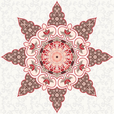 Vector background with round ornament. Fantasy flowers with leaves and curls. Seamless simple delicate ornament. Motives of vintage Indian fabrics. Tree of Life collection. Illustration