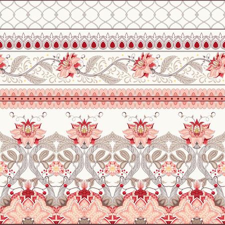 Un conjunto de vectores de bordes horizontales sin costura. Los motivos de las pinturas de telas indias antiguas. Colección Árbol de la Vida.