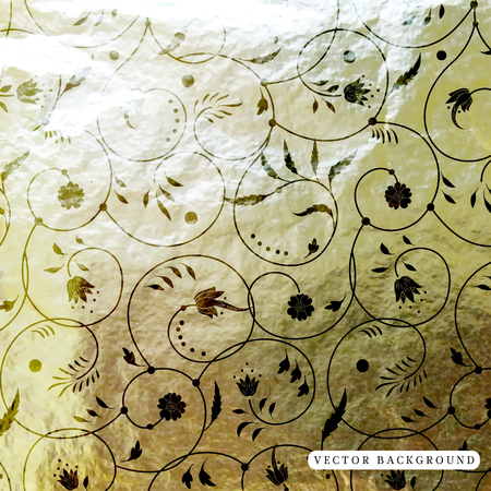 Vector background with floral pattern and curls. Crumpled foil golden basis.
