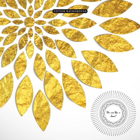 Vector background with golden foil pattern in the form of a flower. Geometric frame reminds gems with a sun burst.  Place for your text.