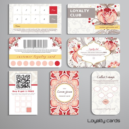 Set of loyalty cards. Tree of Life and beautiful indian decorative frame. Motives of the paintings of ancient Indian fabrics. Realistic shadows. Place for your text.