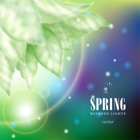 Vector illustration with blurred lights on dark blue background and delicate leaves. Spring collection. Illustration