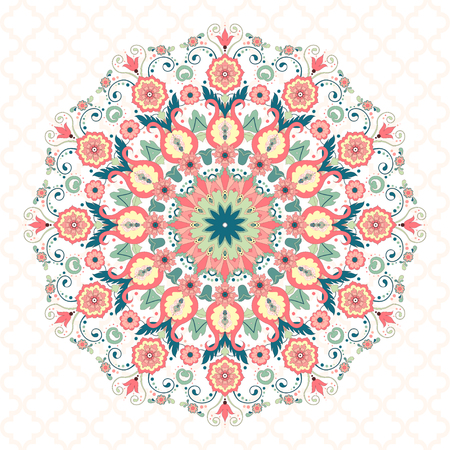 Vector background. Beautiful floral round pattern in modern style and seamless moroccan tiles ornament.