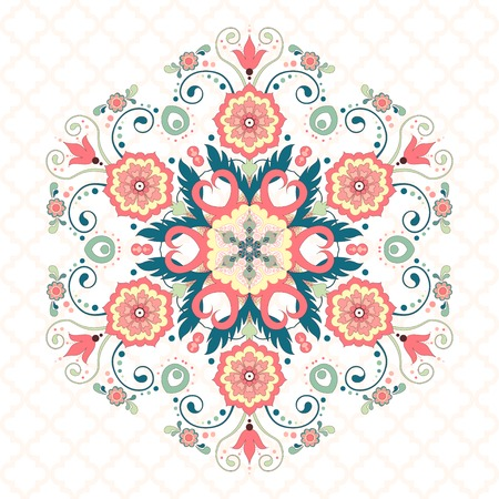 Vector round hexagonal floral pattern in modern style and seamless moroccan tiles ornament. Illusztráció