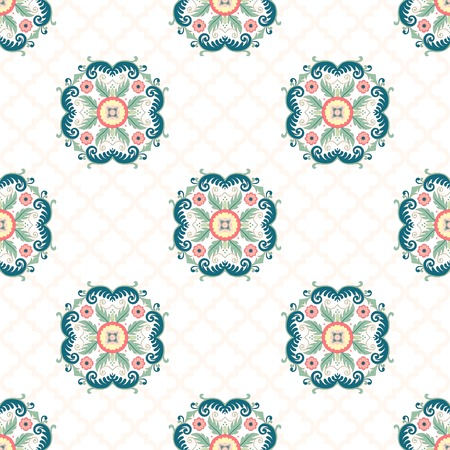Seamless vector background. Beautiful floral pattern in modern style and moroccan tiles ornament.