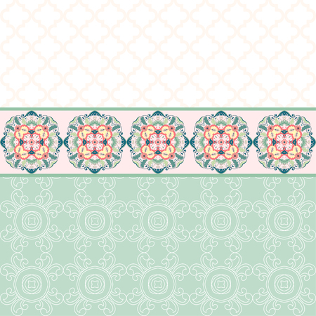 Vector card with Beautiful floral round pattern in modern style and moroccan tiles ornament. Illustration