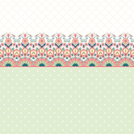 Vector card with Beautiful floral pattern in modern style and moroccan tiles ornament.