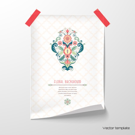 Vector illustration. Sheet of paper with beautiful floral pattern in modern style and moroccan tiles.