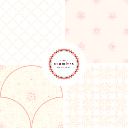 Vector set of four gentle backgrounds with Flowers, curls and moroccan ornament.