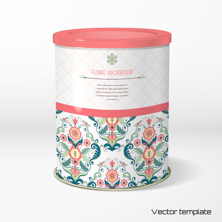 Vector object Round tin packaging for Tea, coffee, dry products with Beautiful floral pattern in modern style. Illustration
