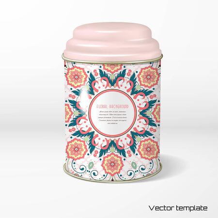 Vector object Round tin packaging with a figured cover for tea, coffee, dry products with beautiful hexagonal floral pattern in modern style, Moroccan tiles ornament.