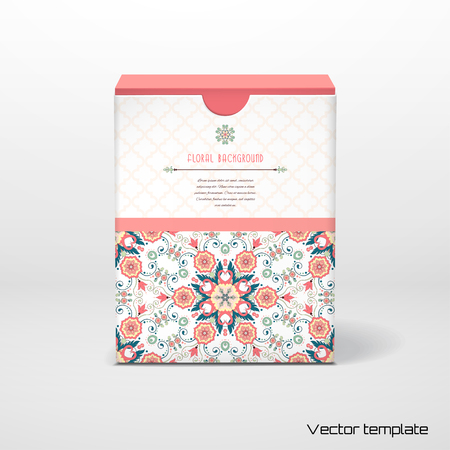 Box with insertion for your text. Vector round floral pattern in modern style and moroccan tiles ornament. 일러스트