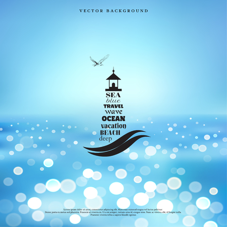 Vector blurred background. Marine style. Badge in the shape of lighthouse, which is seen in the sea and flying seagull. Typography elements.