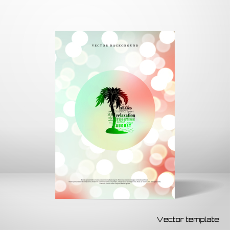 Vector card in marine style with The emblem of palm and island. Lights beach party on colored background with bokeh effect.