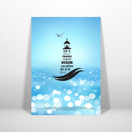 Vector card in marine style. The emblem of lighthouse and seagull. Background with sea. Place for your text.