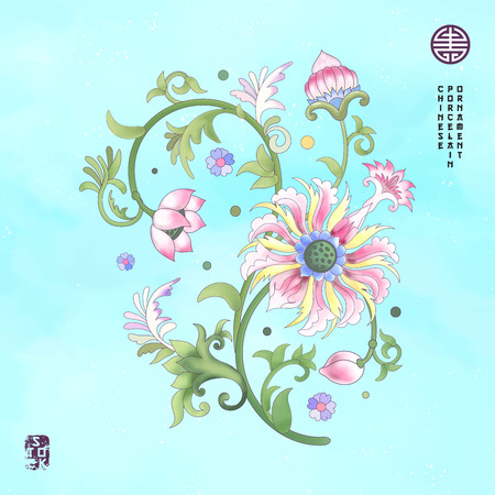 Seamless vector watercolor background with flower element. Lotus flowers and leaves are painted by watercolor. Imitation of Chinese porcelain painting.
