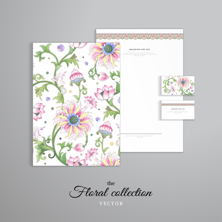 Vector identity templates. Letterhead, folder for documents, business cards. Lotus flowers and leaves are painted by watercolor. Imitation of chinese porcelain painting. Hand drawing.