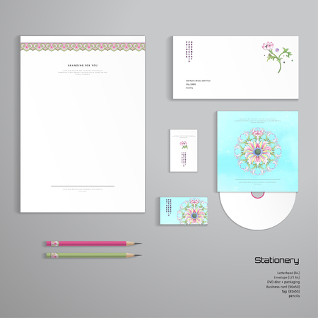 Vector identity templates letterhead envelope business card vector vector identity templates letterhead envelope business card tag disc with packaging pencils lotus flowers and leaves are painted by flashek