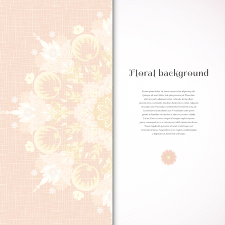 Vector card. Beautiful round floral pattern in vintage style and in gentle colors. Imitation canvas texture. Insertion for your text.
