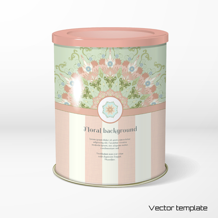 Vector object. Round tin packaging. Tea, coffee, dry products. Round floral pattern in vintage style. Delicate canvas texture. Place for your text.