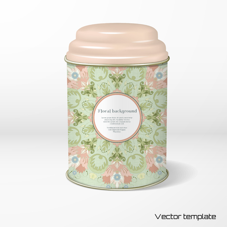 Round tin packaging with a floral design.
