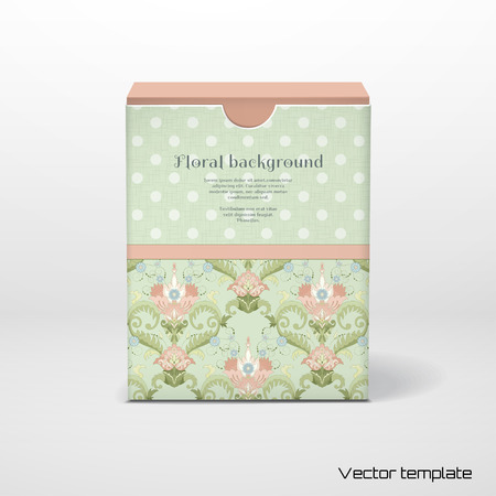 Vector illustration. Box with place for your text. Beautiful floral pattern in vintage style. Delicate canvas texture.